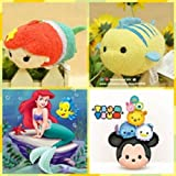 """New 2pc Mini Tsum Tsum Plush Set: Ariel and Flounder From the Little Mermaid 3.5"""""""