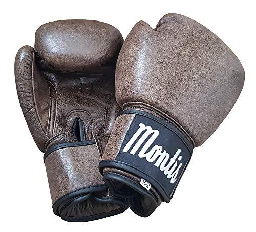 MONTIS Old School Vintage Klassische Retro Boxhandschuhe, Leder, Braun - Boxhandschuhe Leder Vintage