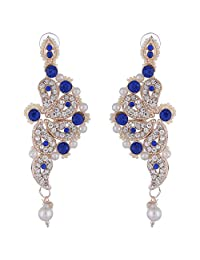 Bel-en-teno Blue & White Alloy Earring Set For Women