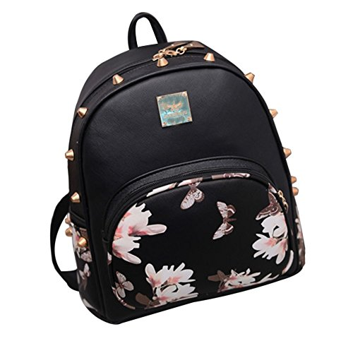 tellw Femme Filles Loisirs Voyage Shopping Sac à dos - Black Butterfly
