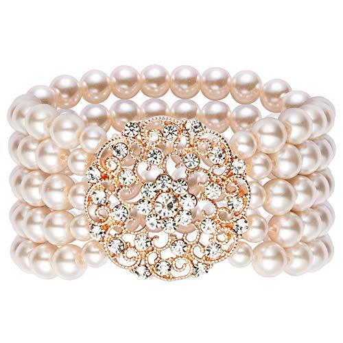 Kostüm 2 Damen - ArtiDeco 1920s Armband Perlen Damen Gatsby Kostüm Zubehör Blinkende Kristall Armreif 20er Jahre Accessoires für Damen (Stil 2-Rose Gold)