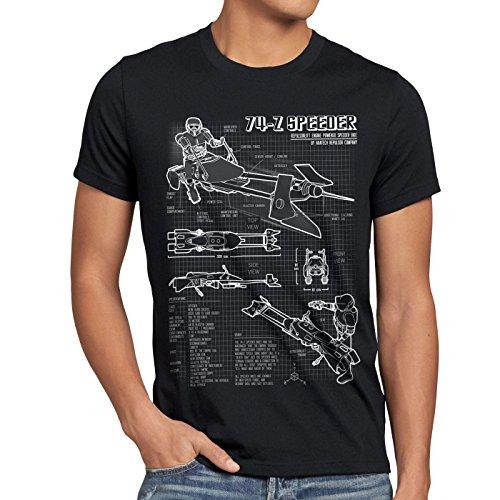 style3 74-Z Speeder Bike Herren T-Shirt blaupause endor, Größe:XXXL;Farbe:Schwarz