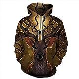 Unisex Paare Deer mit Kapuze Sweatshirt 3D gedruckt Sweat Shirt Langarm Hoodie Taschen top