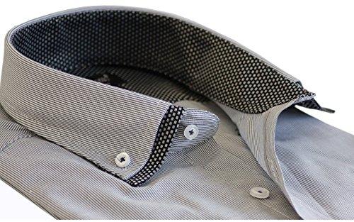 Daniel Rosso Maglietta a maniche corte Slim Fit camicia formale Business causale Wear S–4x L (Dr 605) Striped (Black)