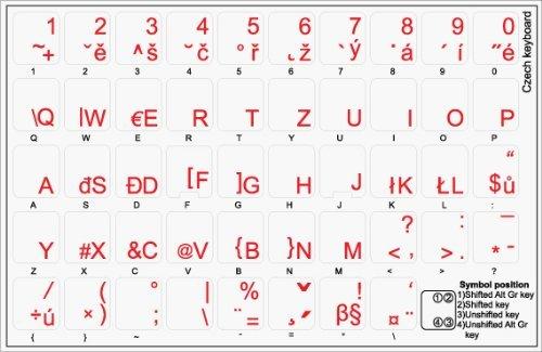 Tschechisch transparente Tastaturaufkleber mit Roten Buchstaben – Geeignet für jede Tastatur - 2