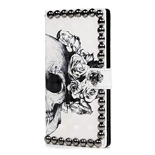 BIJGZ HOME Sony Xperia XA2 Ultra Hülle - 3D handgefertigte Bling Brieftasche Flip Cover Sparkly Kristall Diamanten Edelsteine   Magnetischer Punk Skull Case Kartensteckplätze Stand Cover für Sony Xper Skull Mantel