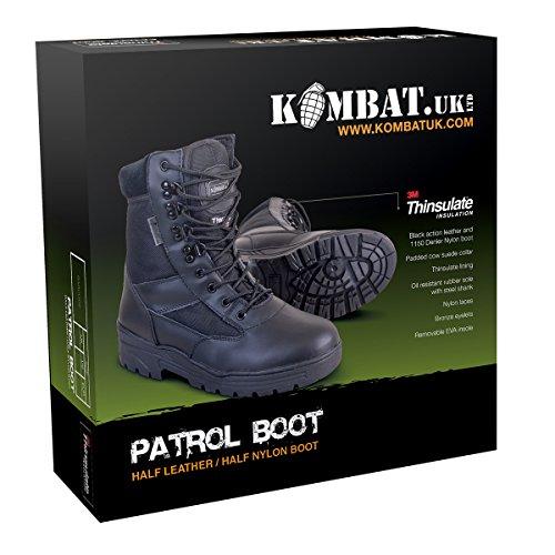 Kombat Uk Uomo Mezzo Pelle / Mezzo Cordura Patrol Boots Nero - Nero