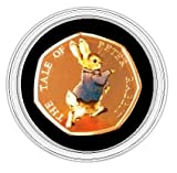 Brand New 24K carat Gold Plated 2017 Unblemished Brilliant Uncirculated 'The Tale of Peter Rabbit' Coloured Decal Stickers 50p Fifty Pence Coin with Capsule Holder