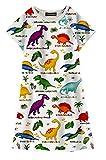 Funnycokid Baby Mädchen Kinder Baumwolle Dinosaurier Kurzarm Tunika T-Shirt Kleider 8-9T