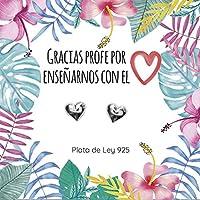 Pendientes corazón para maestra Plata de Ley 925 | Joyas para profesoras | Regalos para maestra | Envío gratis