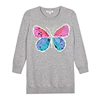Bluezoo Kids Girls' Grey Sequin Butterfly Jumper Age 8-9