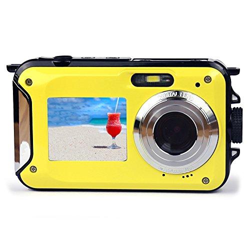 AMKOV Doppel Dual LCD Display Digital-Kamera Life Wasserdicht Selbstauslöser Video Pocket Mini Camcorder Recorder W599, Kinder, gelb