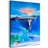 decomonkey | Bilder Abstrakt Blau 80x120 cm | 1 Teilig | Leinwandbilder | Bilder | Vlies Leinwand | Bilder | Wand | Bild auf Leinwand | Wandbild | Kunstdruck | Wanddeko | Modern Aquarell orange grün | DKB0492a1XL