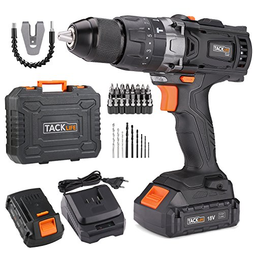 Tacklife Perceuse Visseuse Sans Fil 18V à 2 Vitesses avec Marteau et 2 Batteries Lithium-ion (2,0...