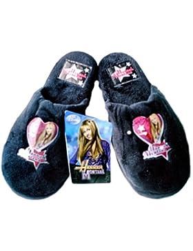 Original Hannah Montana Pantuflas Zapatillas de felpa con suela antideslizante en negro + rosa