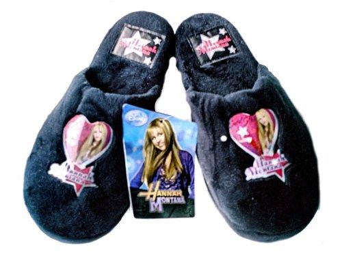 original-hannah-montana-pantuflas-zapatillas-de-felpa-con-suela-antideslizante-en-negro-rosa