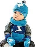 Baby Mädchen Junge Mütze Schal Handschuhe Set Baby Wintermütze Strickmütze mit Schal Handschuhe Kopfumfang 46-50cm 6-18 Monate Warm und Süß Blau