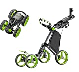 CaddyTek Superlite Quad V2 4-Rad Trolley Push Golftrolley Golfcaddy Golfwagen Schwarz Grün