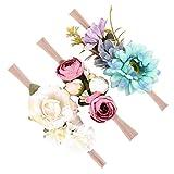 Homyl 3er Set Mädchen Baby Haarband Stirnbänder Blumen Haarschmuck Fotoshooting Kostüm - Stil 3, wie beschreiben