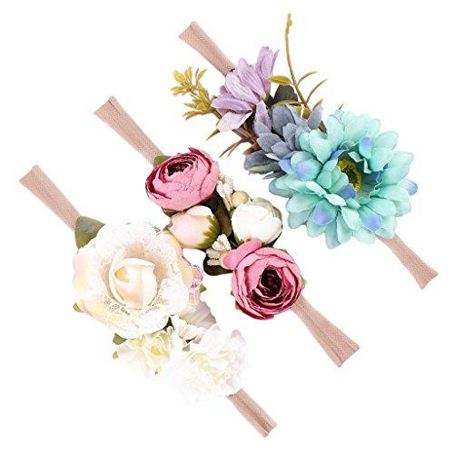 MagiDeal 3 Stück Niedlich Blumen Baby Mädchen Haarband /Stirnband Fotografie - Stil 3, wie (Kostüm Blume Baby)