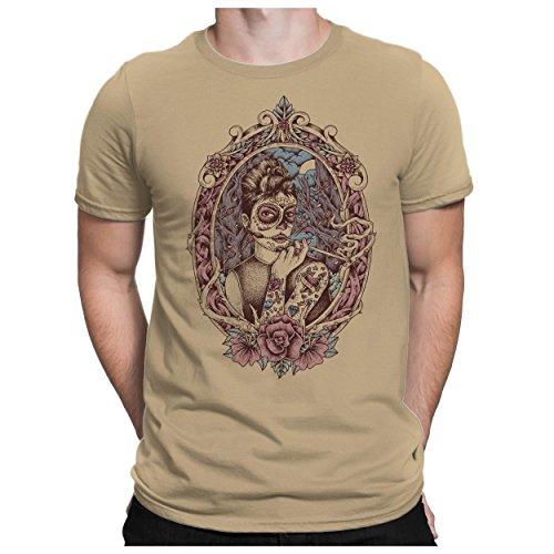PAPAYANA - La Muerto - Herren Fun T-Shirt Bedruckt Santa Muerte Mexiko - L - Khaki (El Halloween-de Mexico)