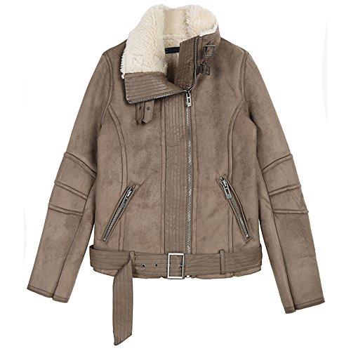 Warm Winter komfortabel khaki künstliches Pelzwerk eine Naht leder Motorrad kurzes Fell weiblich, XL, khaki (Leder Holden)