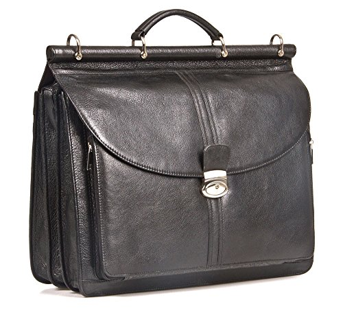 HIDEONLINE AKTENTASCHE schwarz Italienisches Leder Top Rod Aktentasche für 38,1cm und 43,2cm Laptops Mehrfarbig 17