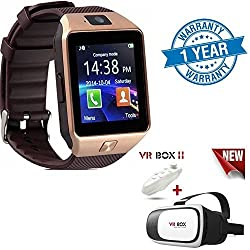 Captcha One Plus 3T Compatible Certified DZ09 Bluetooth Smart Watch - Sim & Memory Slot - Camera - Android Ios-Gold with VR BOX Pro Version VR Virtual Reality 3D Glasses + Smart Bluetooth Wireless Remote(1 Year Warranty)