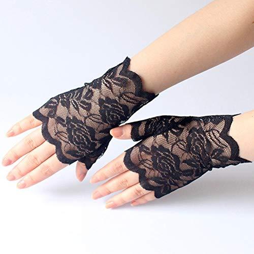 Caokang Frauen Kurze Fingerlose Spitzenhandschuhe Erwachsene Mädchen Damen Handschuh Damenhandschuhe,Schwarz (Erwachsene Kurze Fingerlose Schwarze Handschuhe)