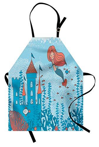 Meerjungfrau-Schürze, Kunst der kleinen Meerjungfrau unter dem Meer in Korallen mit Schloss- und kleinem Fisch-Druck, Unisexküchen-Latzschürze mit justierbarem Hals für das Kochen des Backens Gartenar