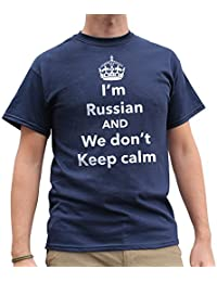 Nutees I'm Russian And We Don't Keep Calm Funny Mens T Shirt - Navy Blue