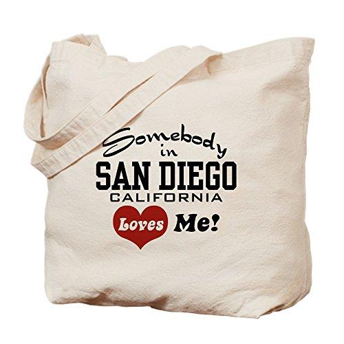 CafePress–Somebody in San Diego loves me–Leinwand Natur Tasche, Reinigungstuch Einkaufstasche Tote S khaki (Stoff San Diego)