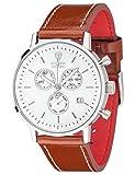 DETOMASO Herren-Armbanduhr Milano mit silbernem Edelstahlgehäuse und weißem Zifferblatt. Elegante Quarz Herren-Uhr mit braunem Leder-Armband.