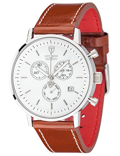 DETOMASO Milano Men's Quartz Watch with White Dial Analogue Display and Brown Leather Bracelet Dt1052-G