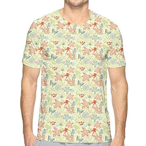 Wildblumen-shirt (3D gedruckte T-Shirts, Schmetterlinge und Wildblumen-Muster auf Farbspritzen-Hintergrund)