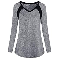 Miss Fortune Quick Dry Shirts Women, Ladies Casual Gym Tops Basic Long Sleeve Active T Shirts Hiking Clothes Plus Activewear,Light Gray Large
