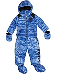 Diesel Nylon Baby Boy's 2 Piece Snowsuit Jacket with Salopettes Bright Branded Padded Mittens