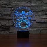 Trommel Set 3D Illusion Nachtlicht Rock Musikinstrumente LED Nachtlampe Schreibtisch Tischlampe 7 Farbwechsel Baby Schlaf Beleuchtung han-8183