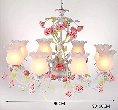 OYH Modern Pink Flower Chandelier, Lustre House Retro Flower Shop the Chandelier Glass Chandelier Wedding Shop Mall 8 Heads E27, 90 * 90 * 60Cm Select with Home Use,90 * 60 cm, -