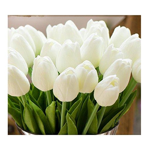 Tulpen Kunstblume Nicole Latex Real Touch Tulpe künstliche Blume Dekoration Hochzeit Dekor Blumenstrauß (Weiß, 10) (Real Touch Blumen Brautstrauß)