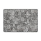 DEZIRO Runde Wolke schwarz und weiß Polyester Fußmatte Teppich Eingang Weg Fußmatten Schuhe Schaber Home Dec Rutschfest waschbar, Polyester, 1, 36 x 24 inch