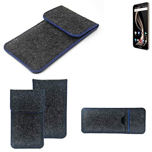 K-S-Trade® Filz Schutz Hülle Für Allview X4 Soul Infinity Z Schutzhülle Filztasche Pouch Tasche Case Sleeve Handyhülle Filzhülle Dunkelgrau, Blauer Rand Rand