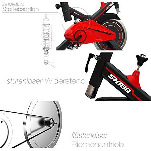 Sportstech Profi Indoor Cycle SX100 mit 13KG Schwungrad, gepolsterter Armauflage, Komfortsattel mit Sitzfederung, Pulsmessung – Speedbike mit flüsterleisem Riemenantrieb – Bodenschutzmatte gratis - 3
