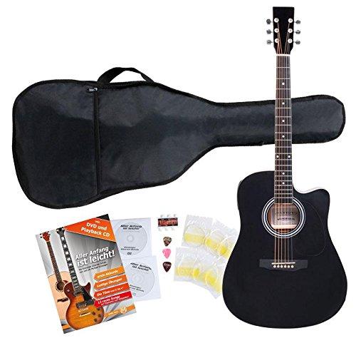 Classic Cantabile WS-10BK-CE Westerngitarre mit Tonabnehmer Starter-Set (Dreadnought-Style, Cutaway, 6 Saiten, 20 Bünde, inkl. Zubehörset, Gitarrentasche, Notenheft, Saiten, Plektren) schwarz