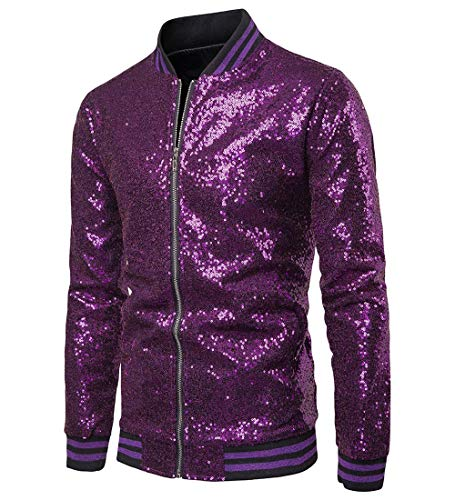 Herren Sequin Jacke Zip Blazer Baseball Tops Sparkle Metallic Nachtclub Langarm Down Männer 70er Jahre Disco Varsity Bomber Shirt Party Kostüm (XL, - Lila Kostüm Pimp