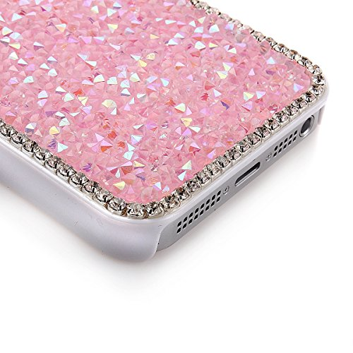 iPhone 5 Bling Hart Case - Felfy Weiß Diamant Luxus Kristall Strass Glitzer Shining Hard Back Cover Schale Handy Tasche Etui Hülle für Apple iPhone 5S 5 + 1x Silver stylus + 1x Screen Protector Rosa