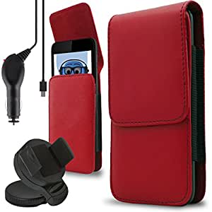 iTALKonline Oppo A59 Red PREMIUM PU Leather Vertical Executive Side Pouch Case Cover Holster with Belt Loop Clip and Magnetic Closure and 1000 mAh Coiled In Car Charger LED Indicator and Overload Protection