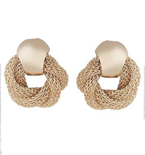 Zeneme Spring Push Back Gold-Plated Stud Earrings For Women