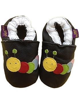 chromfreie Krabbelschuhe, Baby Schuhe , Lederschuhe ohne Chrom, Lernlaufschuhe, Lederpuschen: Raupe, Schwarz