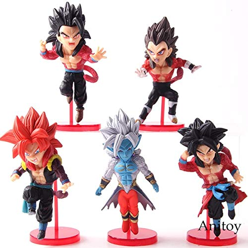 ll WCF Super Dragon Ball Helden Vol.3 Son Goku Gohan Vegeta Gogeta Super Saiyajin 4 Anime Actionfiguren Spielzeug 5 Teile / Satz, ohne kleinkasten ()